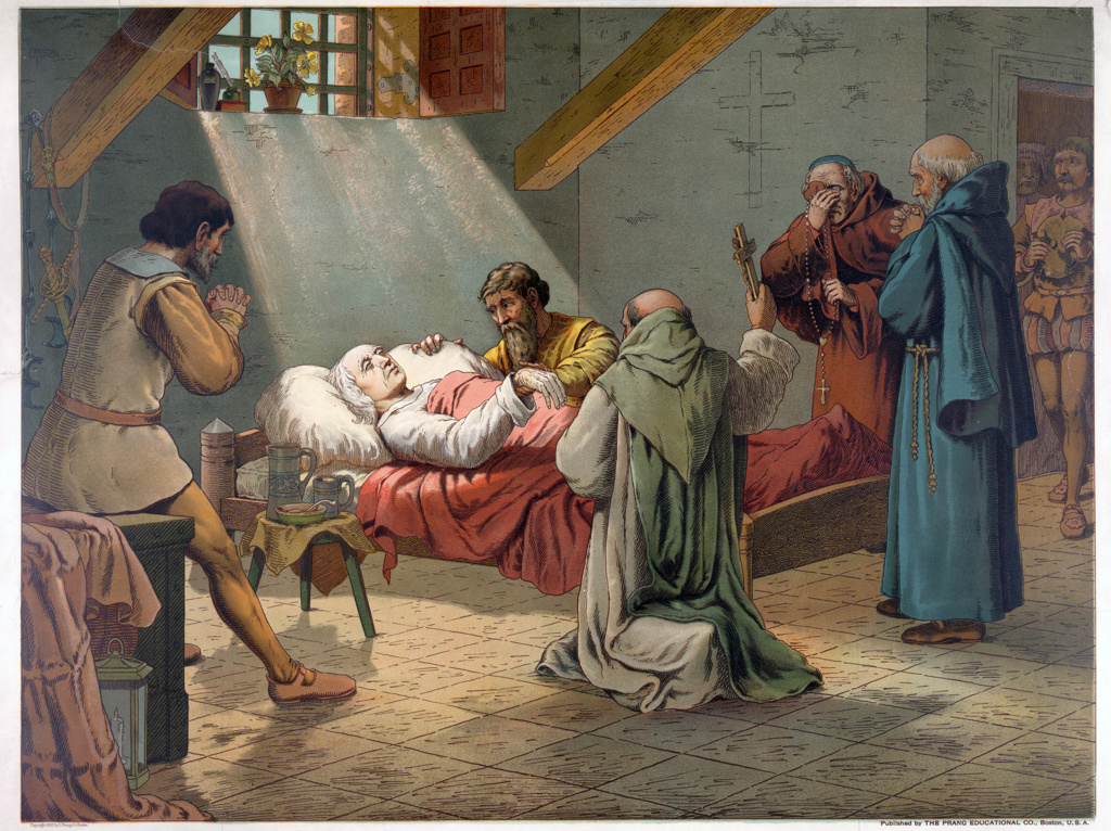 Christopher Columbus (c1451-1506) Genoese navigator and explorer on his deathbed at Valladolid. Religion Christian Priest America. Chromolithograph 1893. : Stock Photo