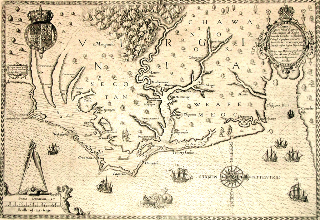 Stock Photo: 1746-3959 Map of 1590 engraved by Theodore de Bry after watercolour by the English colonist John White, governor of Roanoke. Virginia  and coast with small islands and Roanoke at mouth of river. Secotan and Weapemeoc native lands.