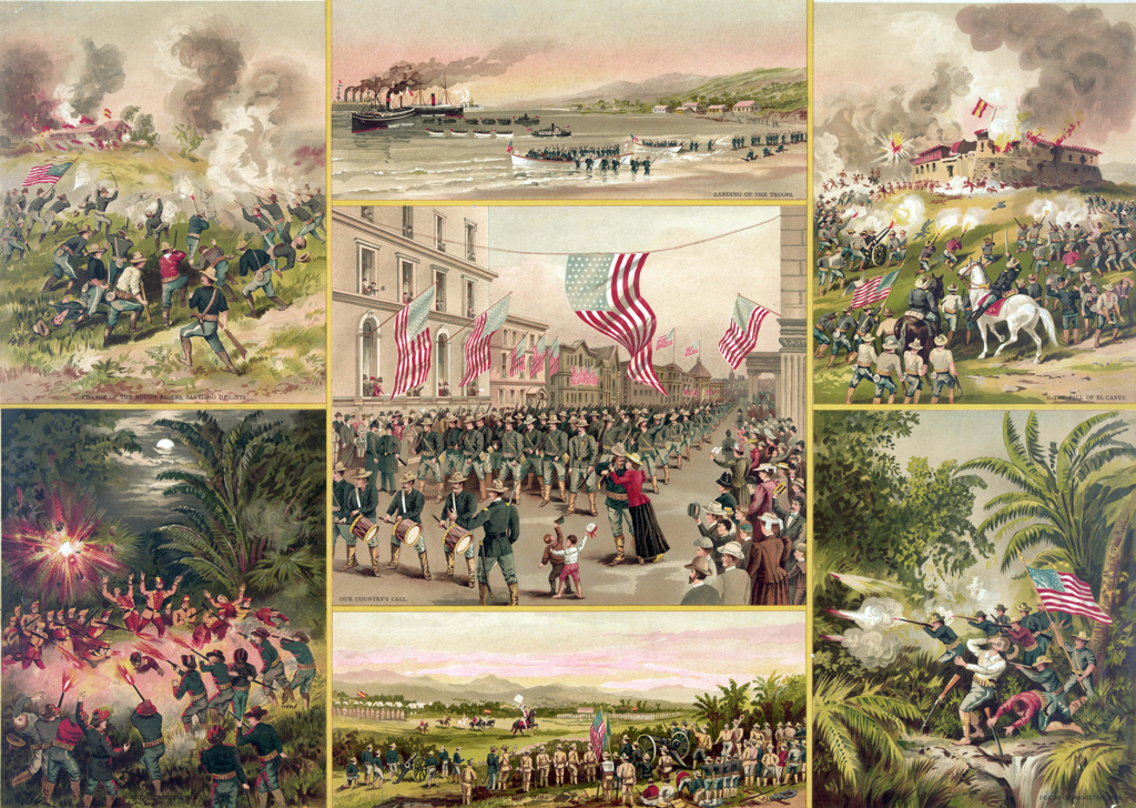 Stock Photo: 1746-3963 Spanish-Cuban-American War 1898:  US troops answering their country's call (centre) surrounded by vignettes of various episodes, including the fall of Spanish-held El Caney near Santiago de Cuba on 1 July.  Print c1899.