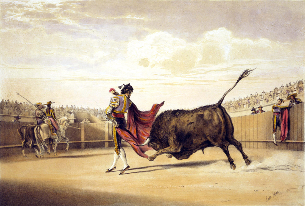 Stock Photo: 1746-3966 Bullfighting: Bull charging as matador plays the cape.  Lake Price (c1810-1896) English artist.  Spain Corrida Torero Tradition Costume Blood Sport Spectacle