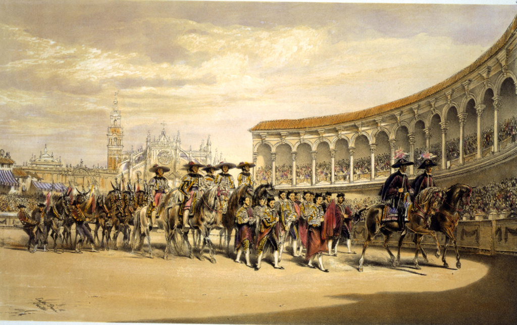 Stock Photo: 1746-3967 Entry of the toreros in procession.  Lake Price (c1810-1896) English artist. Bullfighters processing in the stadium at Seville, Spain. Corrida Matador Tradition Costume Blood Sport Spectacle