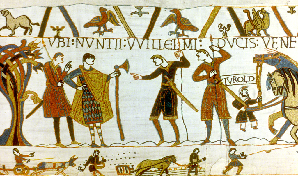 Stock Photo: 1746-3988 Bayeux Tapestry 1067:  In 1064 messengers from William of Normandy demand of Count Guy the release of Earl Harold Godwinson (later Harold II,  Anglo-Saxon king of England). Sowing and harrowing field in bottom border. Textile Linen