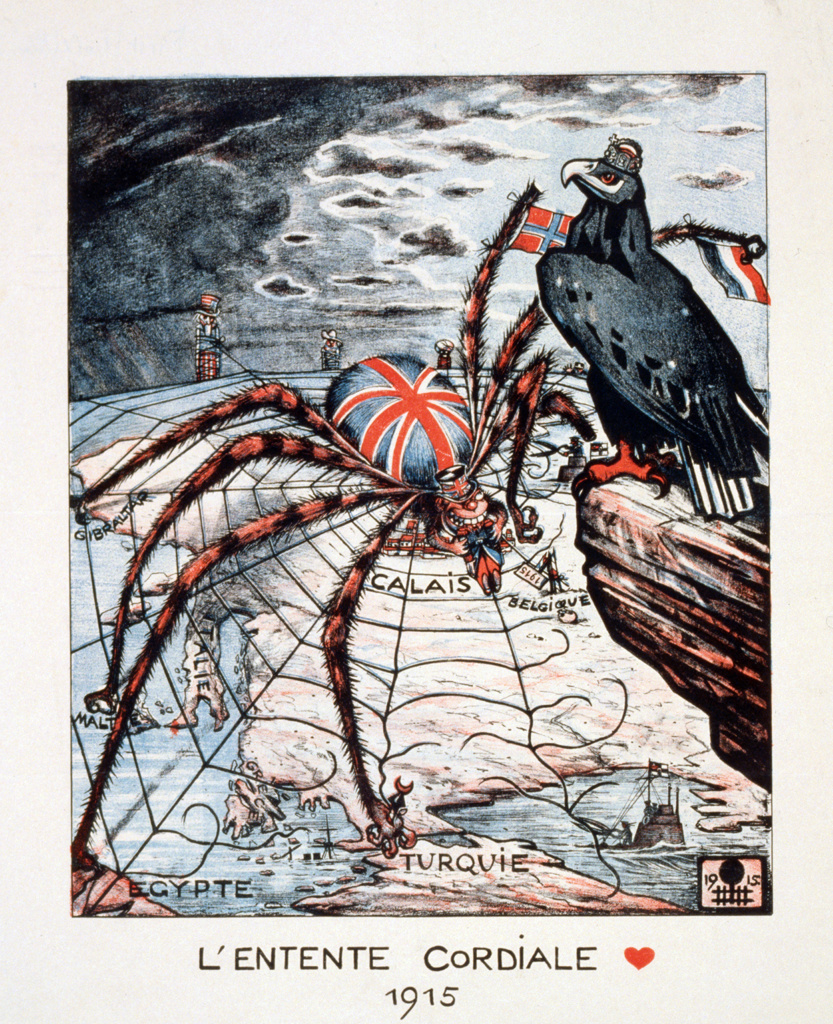Entente Cordiale, 1904 agreement between France and Britain partly to prevent German expansion. German  (Eagle) view of Entente in 1915,  as spider Britain with everything in her web which is gradually being broken. : Stock Photo