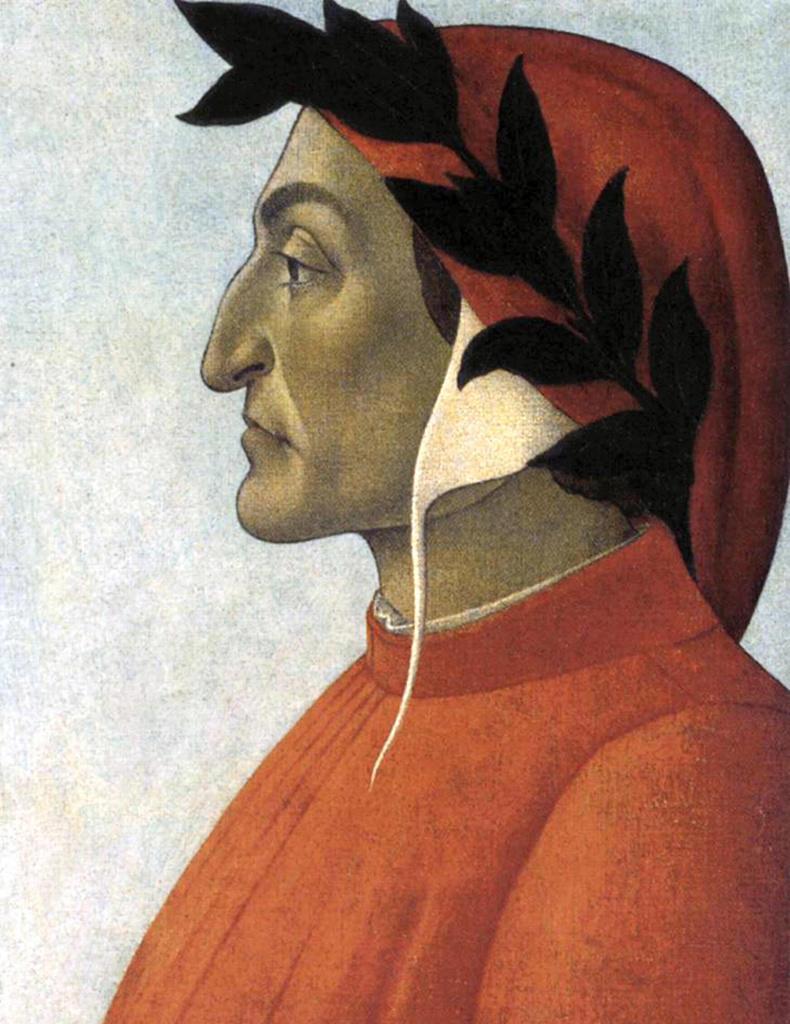 Dante Alighieri (c1265-1321) known as Dante, Italian poet. Portrait c1495 by Sandro Botticelli (c1445-1510) Italian Early Renaissance painter. : Stock Photo