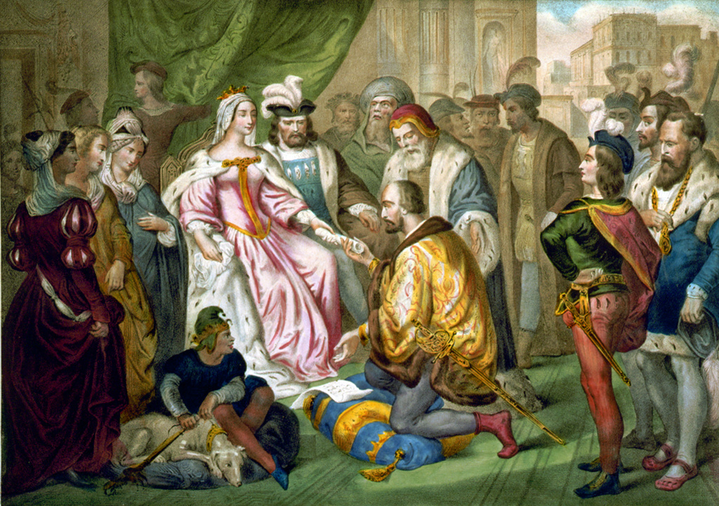 Christopher Columbus (1451-1506) Genoese navigator and explorer kneeling before his patrons, Isabella of Castile and Ferdinand II of Aragon. French illustration c1850. : Stock Photo