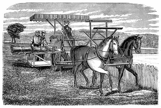 Stock Photo: 1746-404 Cyrus McCormick reaper and binder, an improvement on the model patented in 1831 which was a reaper only. Wood engraving 1877.