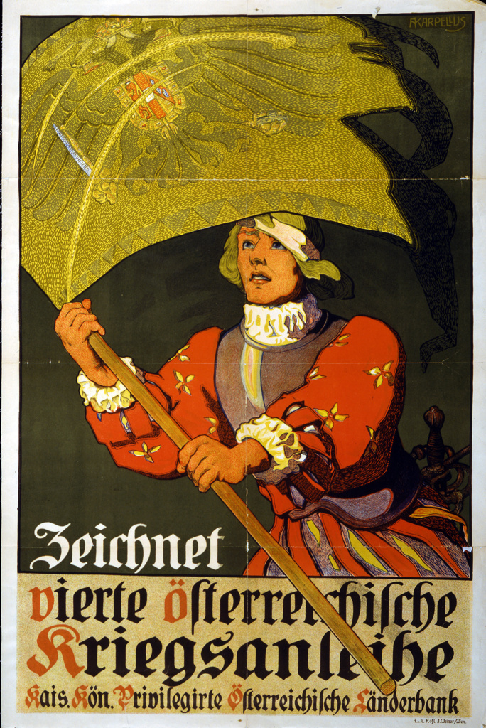 Stock Photo: 1746-4057 World War I 1914-1918: 'Subscribe to the 4th Austrian War Loan' Austrian poster of 1916 showing 16th century soldier carrying a standard emblazoned with the Austro-Hungarian double-headed eagle.