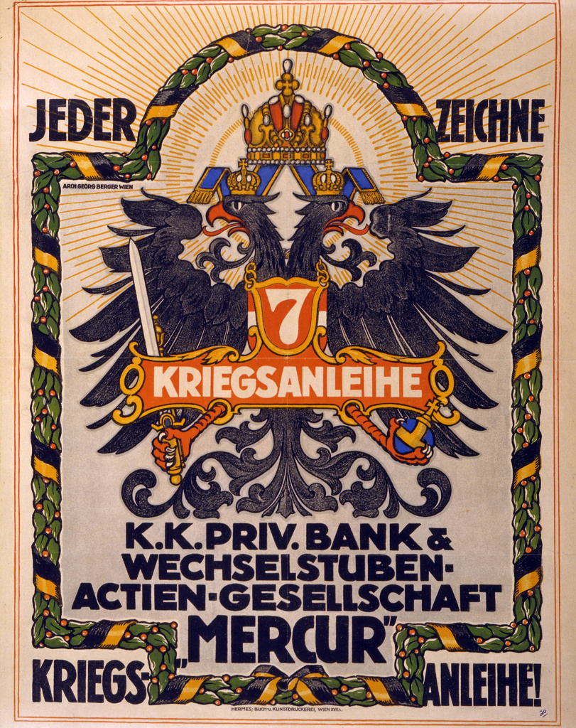 Stock Photo: 1746-4058 World War I 1914-1918:  Poster of 1917 showing the Austro-Hungarian double-headed eagle. Text says 'Everyone subscribe to the 7th War Loan.