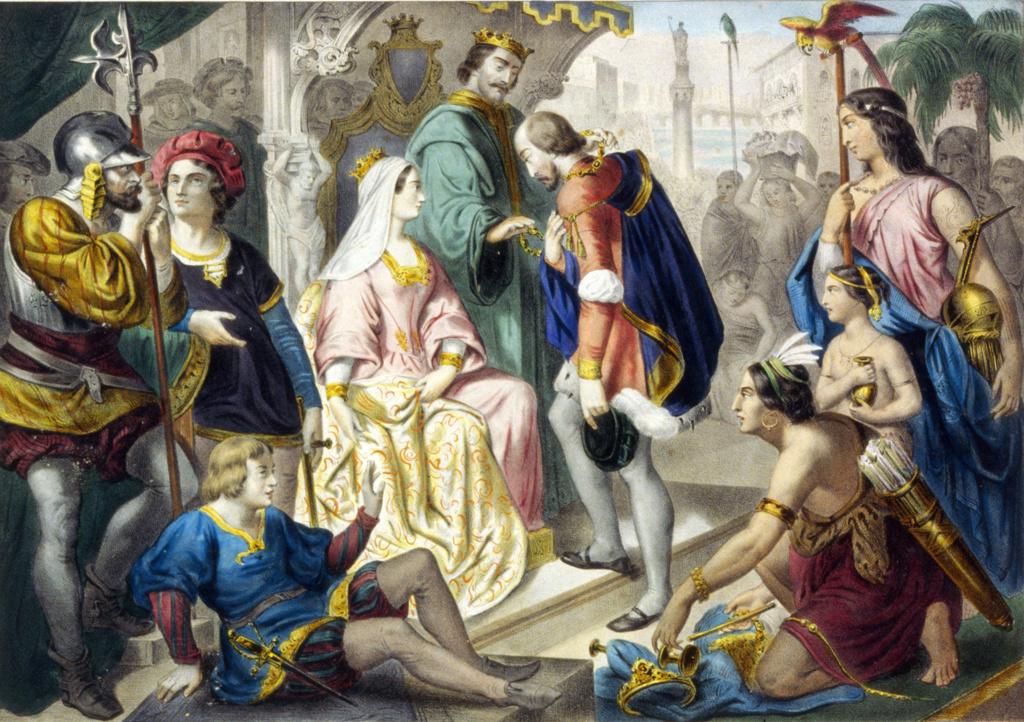 Stock Photo: 1746-4120 Christopher Columbus greeted by Ferdinand II of Aragon and Isabella of Castile on his return from his first voyage to the New World, February 1493. With him are Native Americans and treasures of the New World.  Print c1860.