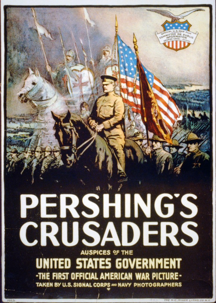 Stock Photo: 1746-4130 American World War I poster, 1917: Pershing's Crusaders.   General John Pershing, mounted on black horse, leading US forces into the war in Europe, 1917. Spirit figures of Crusader knights float above the army.  Propaganda