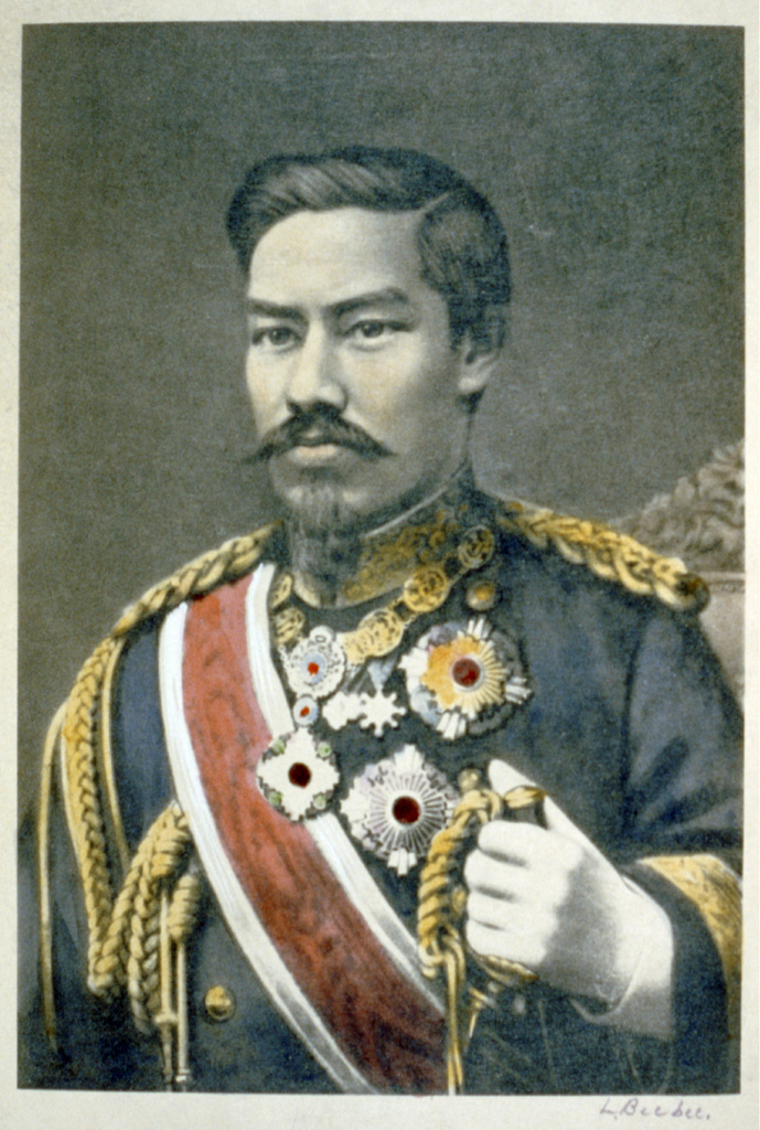 Mutsuhito, Emperor Meiji (1852-1912) 122nd Emperor of Japan from 1867. During his reign Japan  underwent great political, social and industrial changes and became a world power. Head and shoulders portrait in military uniform. : Stock Photo