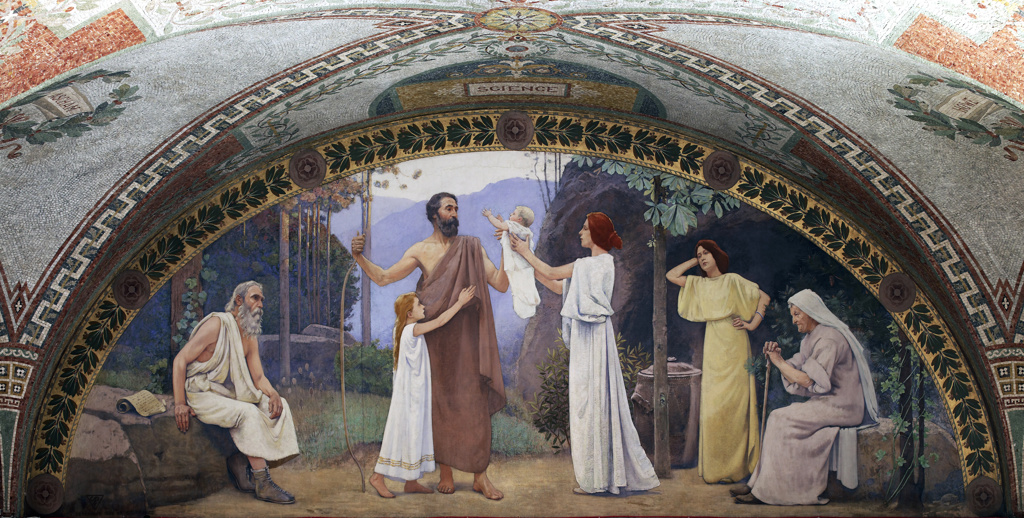 North Corridor, Great Hall. Family mural in lunette from the Family and Education series by Charles Sprague Pearce. Library of Congress Thomas Jefferson Building, Washington, D.C.] : Stock Photo
