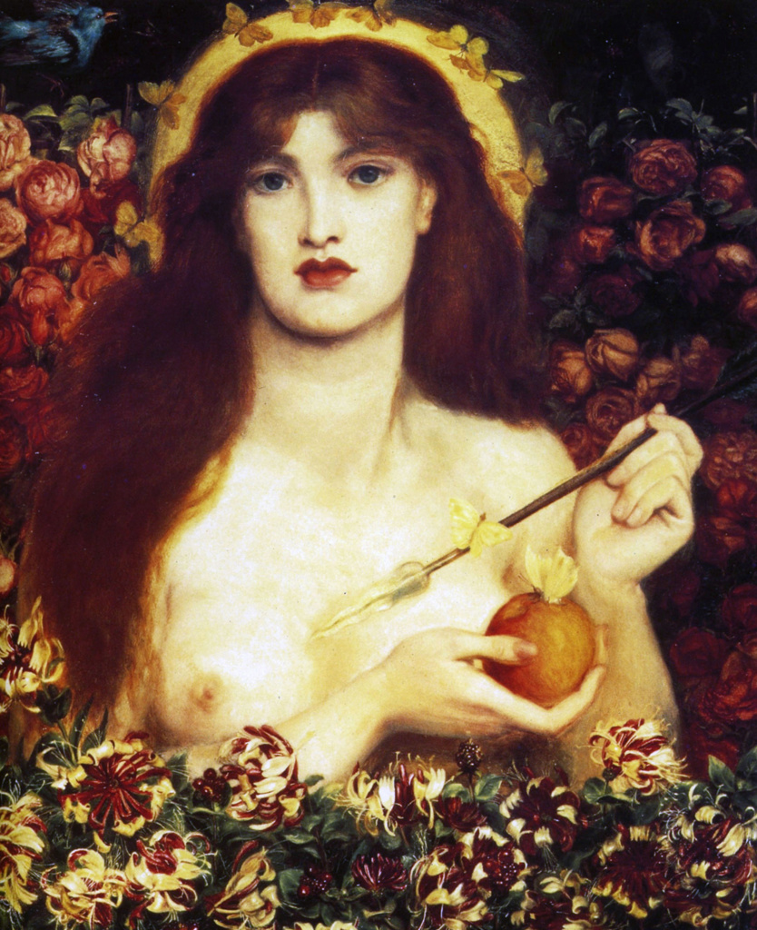 Dante Gabriel Rossetti (1828   1882) English poet and artist. He was a founder of the Pre-Raphaelite Brotherhood. Venus Verticordia 1864-66. Venus Verticordia (Venus the Changer of Hearts), the protector against vice : Stock Photo