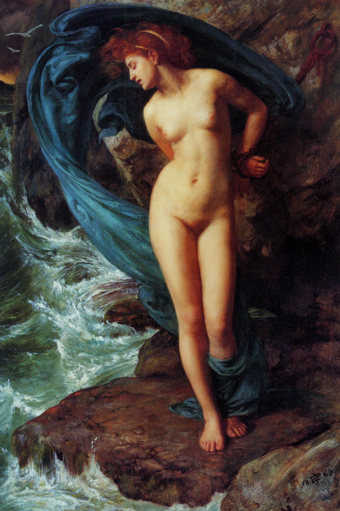 Stock Photo: 1746-4178 Sir Edward Poynter  1836-1919, English artist. Andromeda 1869, Oil on canvas.  Andromeda daughter of an Ethiopian king, described in an ancient Greek tale by Ovid. She is depicted chained to a rock to be sacrificed to a sea monster.