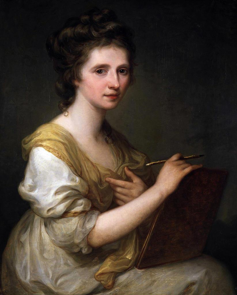 Maria Anna Angelika 1741   1807) Swiss-Austrian Neo-classical painter. Self Portrait : Stock Photo