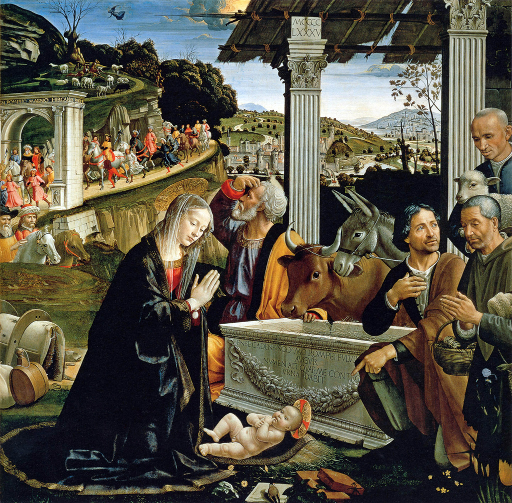 Stock Photo: 1746-4247 Domenico Ghirlandaio  Italian Early Renaissance Painter, 1449-1494 The Nativity c 1482