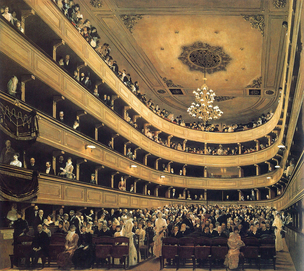 Gustav Klimt.  Auditorium in the Old Burgtheater in Vienna 1888 : Stock Photo