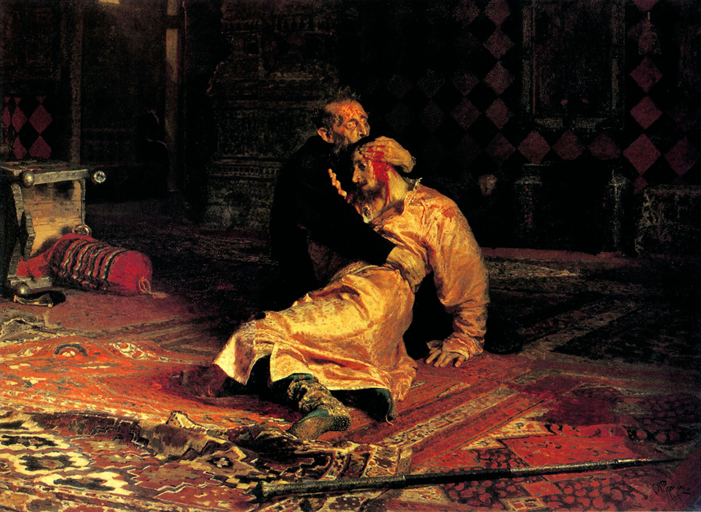 In 1581, Ivan beat his son, Ivan in a heated argument causing his son's death. Depicted in the painting by , 'Ivan the Terrible killing his son' by Ilya Repin(1844-1930). Ivan IV 'the Terrible' (1530   1584) Tsar of Russia 1533 - 1584. : Stock Photo