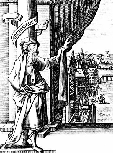 Archimedes (c287-212 BC) Ancient Greek mathematician and inventor. Archimedes drawing back curtain to reveal various mechanical devices such as waterwheels and windmills and the machinery inside them. : Stock Photo