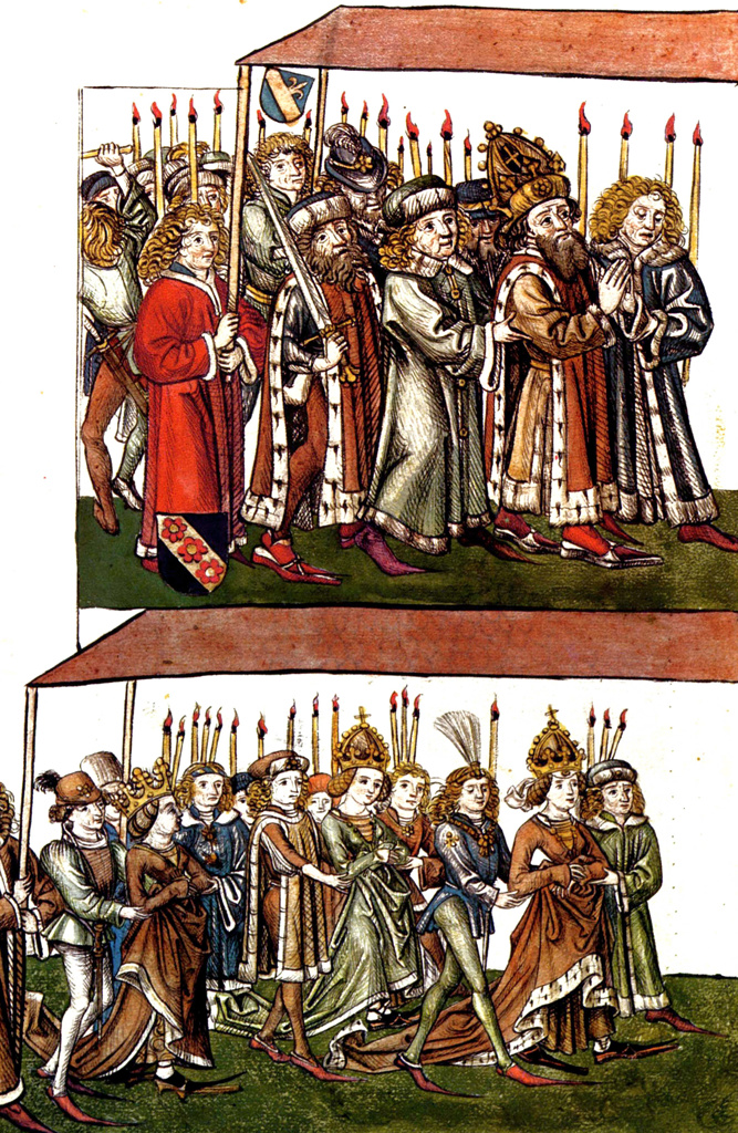 Stock Photo: 1746-4365 Sigismund and Barbara of Celje at the Council of Constance In 1414 to settle the Western Schism. Sigismund 1368  1437) was King of Hungary and Croatia1387 to 1437, and Holy Roman Emperor 1433 until 1437