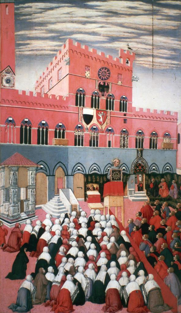 Stock Photo: 1746-4385 St Bernardino of Siena preaching in the Campo. Siena, 1445. Sano di Pietro (1406-1481) early Italian Renaissance painter from Siena.  St Bernardino  (1380-1444) Italian Franciscan missionary.