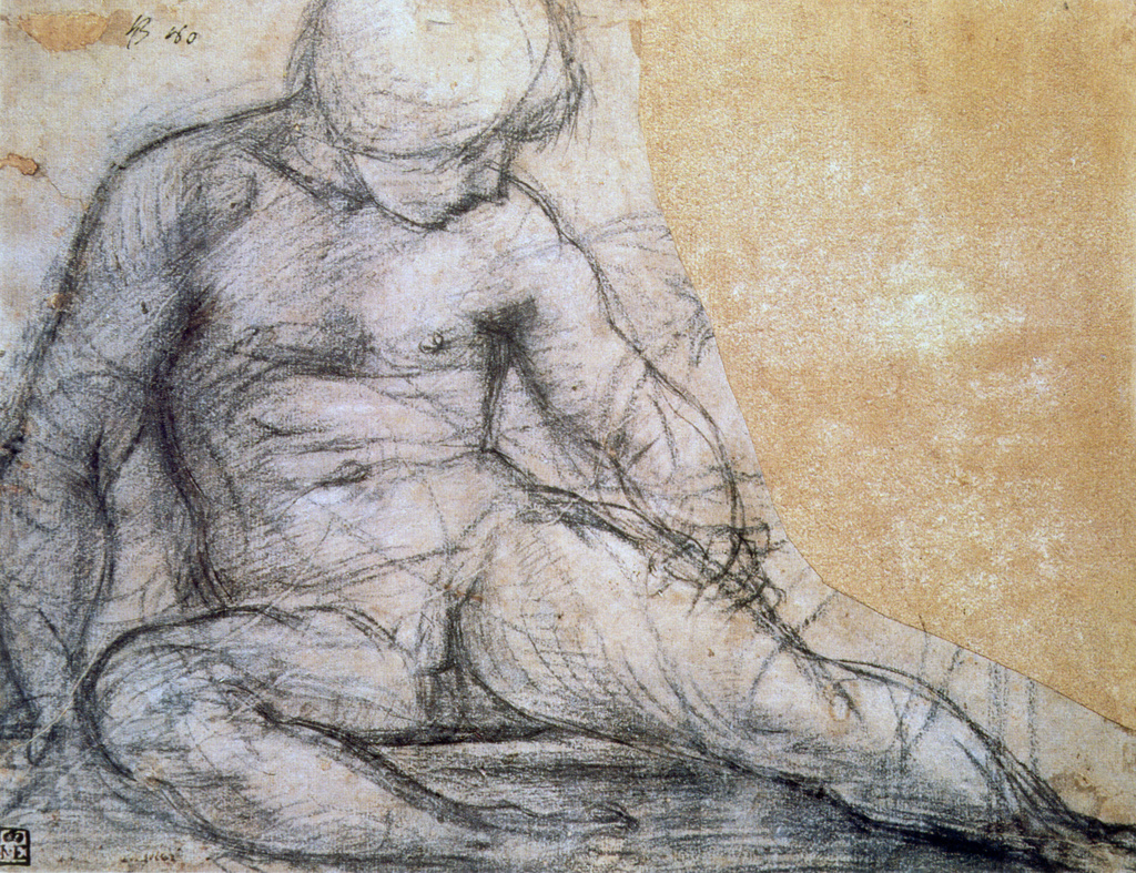 Stock Photo: 1746-4394 Sitting Boy', Pencil with traces of charcoal on paper. Pontomoro (Jacopo Carucci 1494-1557) Italian Mannerist painter. Nude Male