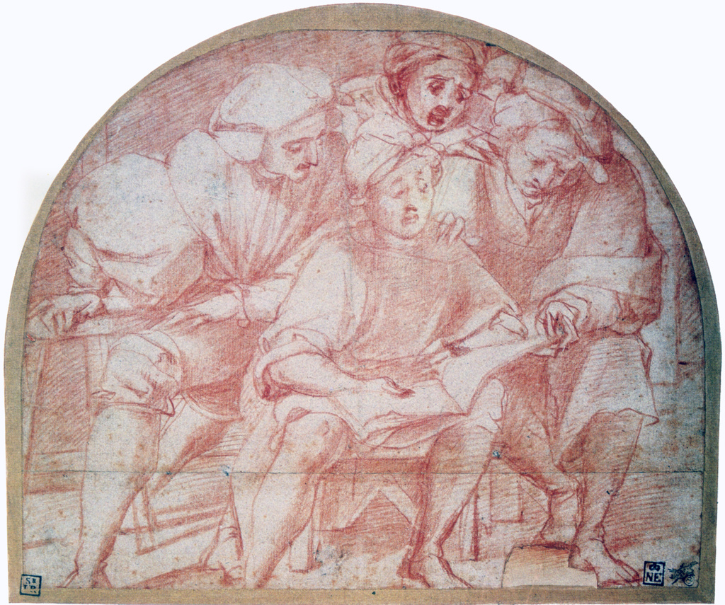 Stock Photo: 1746-4395 Four Singers', red crayon with traces of pencil.  Pontomoro (Jacopo Carucci 1494-1557) Italian Mannerist painter. Man seated with three others looking over his shoulder at music book.  Vocal Singing  Quartet