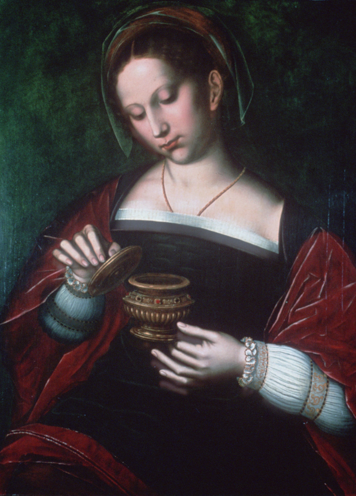 Mary Magdalene'. Oil on oak panel. Saint Ambrosius Benson (c1495-1550) Flemish Northern Renaissance painter.  Devoted follower of Jesus, here with pot of ointment which she poured over his head: Mark 13.3-9. Christian Saint : Stock Photo