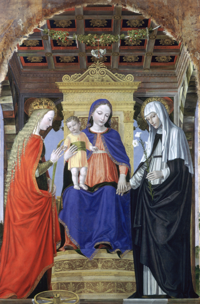 Stock Photo: 1746-4426 The Virgin and Child with Saints', c1490. Oil on poplar. Ambrogio Bergognone (active 1481; dc1523) Italian painter. Virgin in blue robe, enthroned, holding hand of Catherine of Siena with lily, Catherine of Alexandria with wheel. Purity