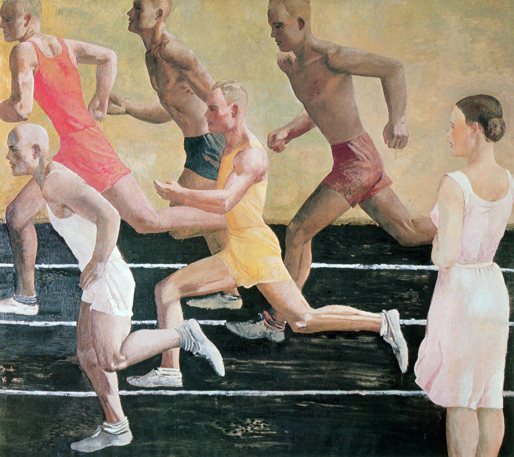 Running', Alexander Alexandrovich Deyneka (Dieneka - 1899-1969) Russian modernist figurative painter, sculptor and graphic artist.  Five male athletes on running track watched by young woman. Sport Athletics Race : Stock Photo