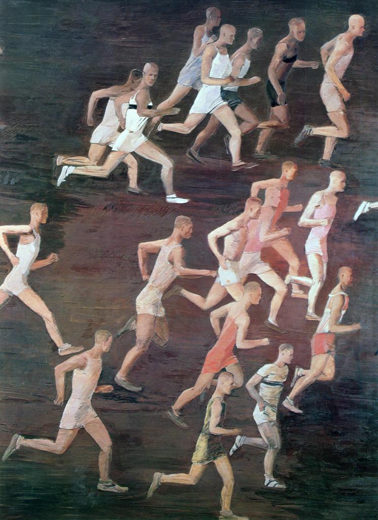 Stock Photo: 1746-4462 Running', Alexander Alexandrovich Deyneka (Dieneka - 1899-1969) Russian modernist figurative painter, sculptor and graphic artist.  Seventeen male athletes on running . Sport Athletics Race