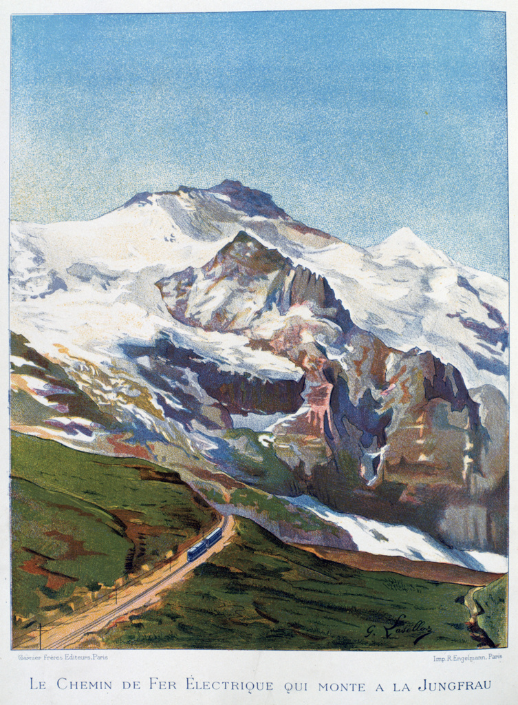 Stock Photo: 1746-4489 Jungfraubajn - electric cog railway on the Jungfrau, Switzerland,  operated on the Guyer-Zeller system. Work begun in 1896. Invention Technology  Civil Engineering Electricity Electrical Transport Alpine