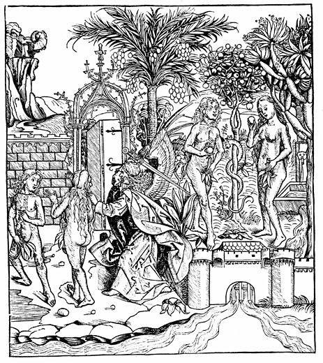 "Stock Photo: 1746-449 Adam and Eve eat from the Tree of Knowledge and are expelled from the Garden of Eden by the Angel of the Lord From ""Liber Chronicarum Mundi"" (Nuremberg Chronicle) by Hartmann Schedel 1493, Woodcut"
