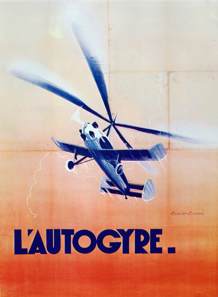 French poster for the Autogiro, the invention of the Spanish engineer Juan de la Cievra (1895-1936). First successful model, 1923. Aviation Aeronautics Gyroplane : Stock Photo
