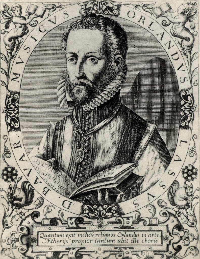Stock Photo: 1746-4542 Orlando Lassus (Orlando di Lasso - c1532-1594) Composer and musician from the Netherlands. Active in Italy, England and France, He composed both sacred and secular works. Ennobled by Maximilian II in 1570. From a copperplate engraving.