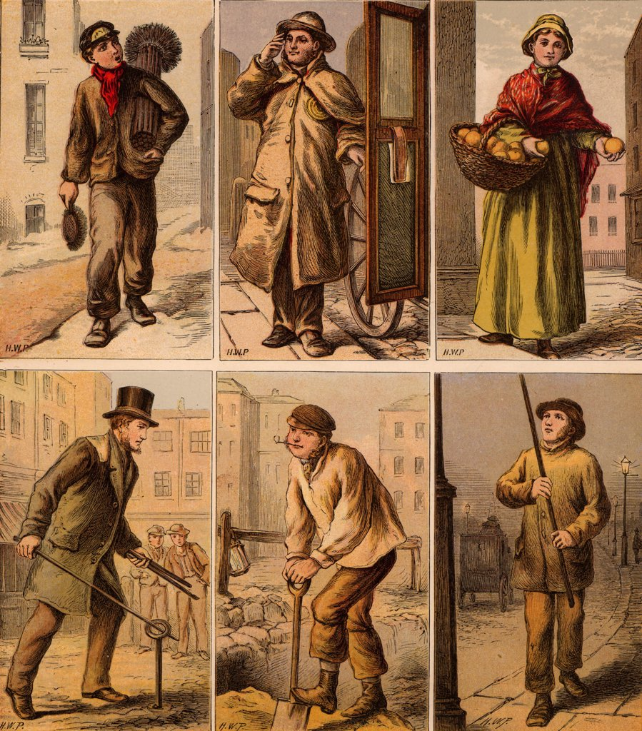 London street scenes. Boy Chimney Sweep: Cab driver: Orange Seller: Water Board Man turning a stopcock: Digging up the road: Lamplighter lighting a gas street lamp. Illustrations by Horace William Petherick (1839-1919) for a children's book published London c1875. Chromolithograph. : Stock Photo