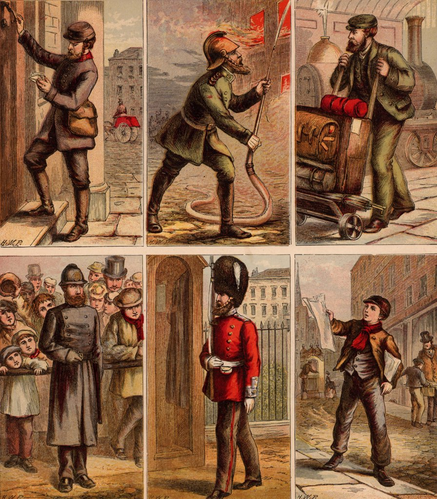 Stock Photo: 1746-4555 London street scenes. Postman delivering letters: Fireman fighting a fire: Railway Porter with trolley of luggage: Policeman on crowd duty: Guardsman of sentry duty: Newsboy selling papers.. Illustrations by Horace William Petherick (1839-1919) for a children's book published London c1875.