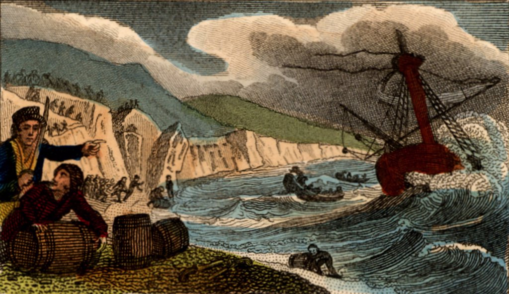Wreckers in Cornwall, England, collecting anything useful they can from the wreck of a ship they have lured to destruction on the shore.    From Scenes in England by the Rev. Isaac Taylor, London, 1822. Hand-coloured engraving. : Stock Photo