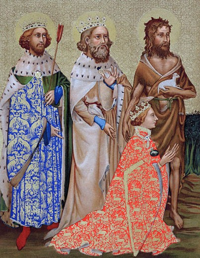 Stock Photo: 1746-462 Richard II (1367-1400) King of England 1377-99, with his patron saints St Edmund (841-70) king of East Angles and of Suffolk martyred for refusing to give up Christian faith when captured by Danes, Edward the Confessor (1003-1066) king of England