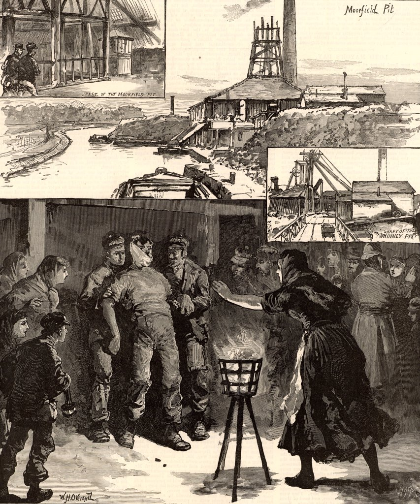 Colliery explosion near Accrington, North Lancashire, England,  November 1883. Of the 110 men and boys below ground at the time, 30 men died.  The main picture shows an injured miner (pitman) brought to the surface and his anxious wife rushing forward to greet him.  Engraving from The Illustrated London News (London, 17 November 1883). : Stock Photo