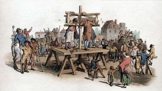Stock Photo: 1746-466 The Pillory. Four men being punished in the pillory jeered at by a crowd. By this date among crimes punishable by pillory were embezzlement of state property, perjury and swindling. Aquatint from WH Pyne Costume of England London 1805