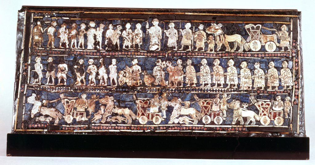 Stock Photo: 1746-4663 Standard of Ur, the war side, from the Royal Cemetery at Ur c2500 BC. Lapis lazuli, mother-of-pearl, shell and coloured stone mosaic. Sumerian. British Museum