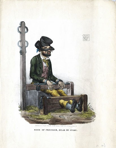Man, looking as if he has been in a drunken brawl, serving his sentence in the village stocks. Attached to stocks is the pillory post with constraints for the arms. Lithograph London 1834 : Stock Photo
