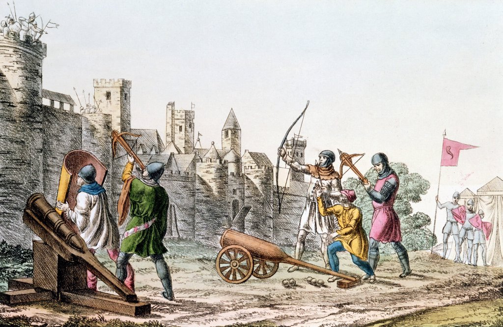 Stock Photo: 1746-4679 Hundred Years War between France and England. English troops attacking the walls of a French town with early cannon and both longbows and crossbows (1375-1425) Hand-coloured lithograph c1830.