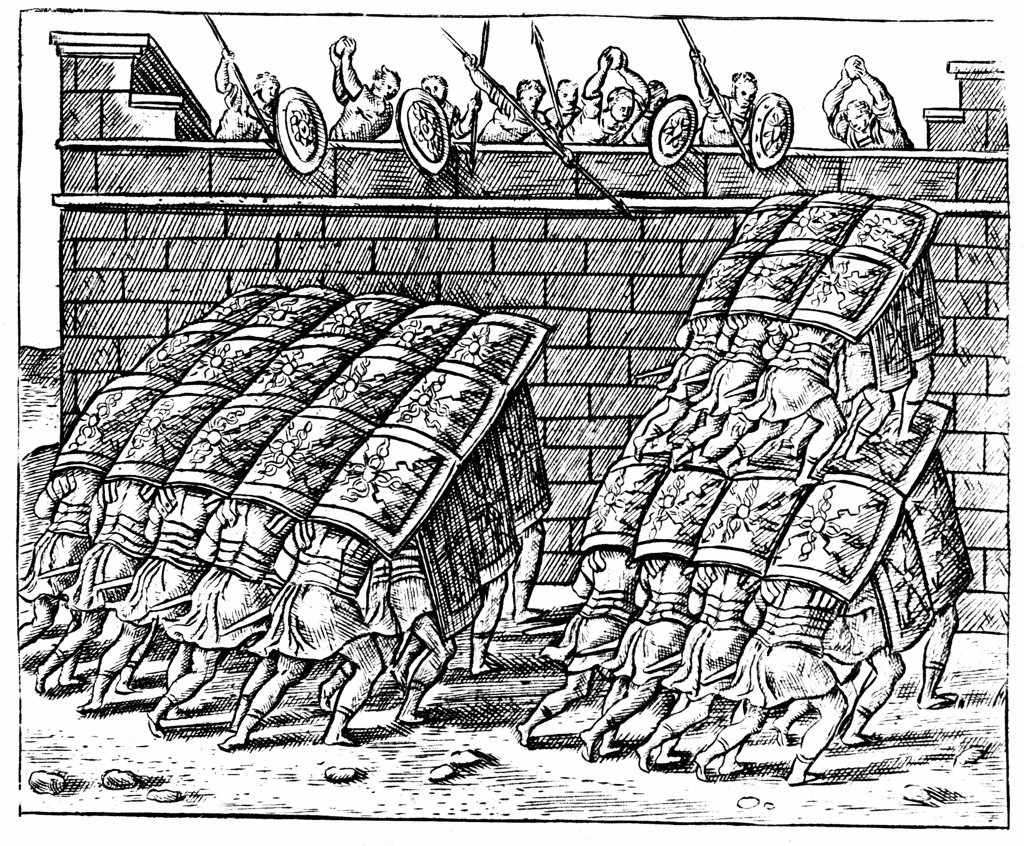 Roman soldiers forming a Tortoise with their shields and approaching the walls of a besieged fortress. Engraving from Justus Lipsius Poliorceticon Antwerp 1605. : Stock Photo