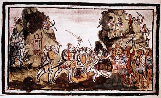 Stock Photo: 1746-471 Hernando Cortes (Cortez - 1485-1547) Spanish conquistador attacking natives in Mexico