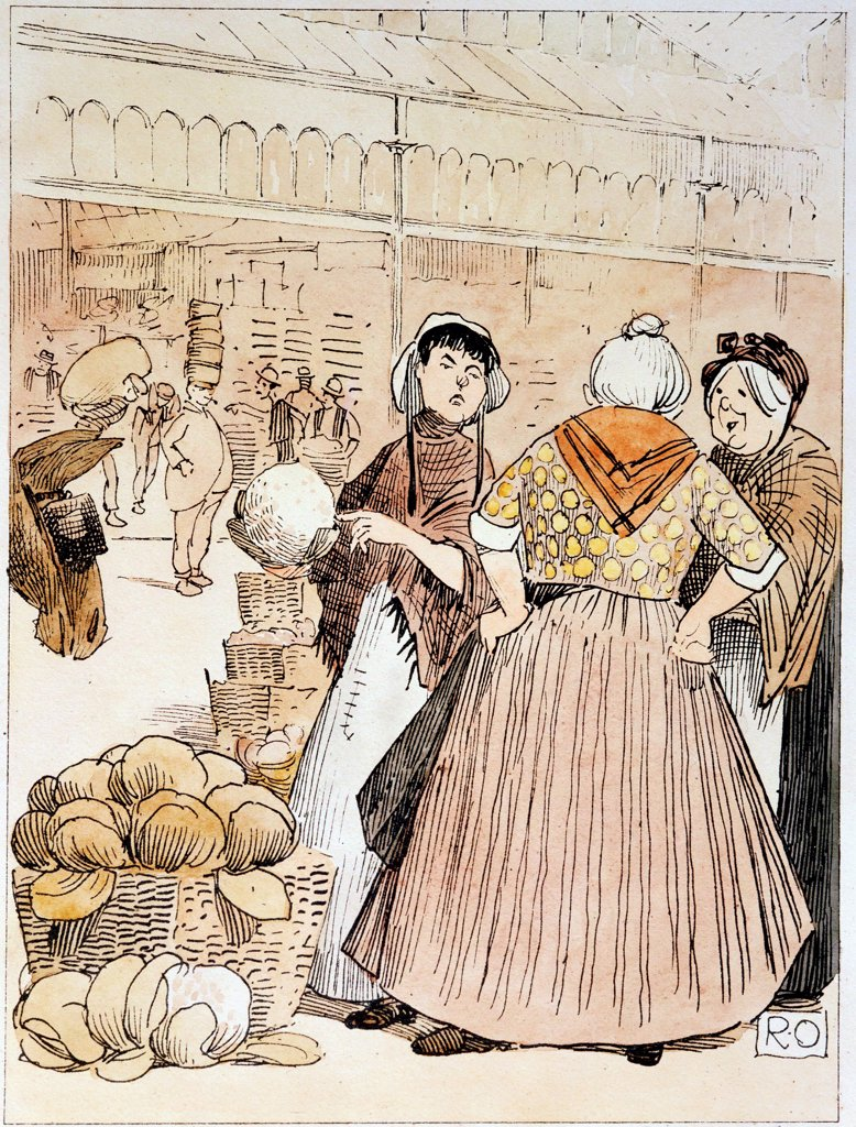 Stock Photo: 1746-4713 Market women discussing the merits of cauliflowers. In left background a porter is carrying a stack of baskets or 'strikes' on his head. Covent Garden fruit and vegetable market, London. Early 20th century pen and wash.