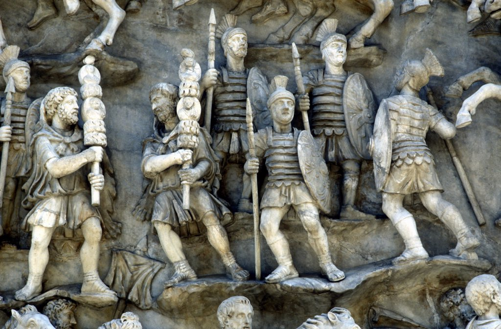 Stock Photo: 1746-4776 Roman soldiers taking part in Decursio - ritual circling of funeral pyre. Detail of relief from the Antonine Column, Rome erected c180-196  by Commodus in honour of his father and predecessor as Roman emperor, Marcus Aurelius (121-180) and commemorating his defeat of the German tribe the Marcomanni or Marcomani (167-168).
