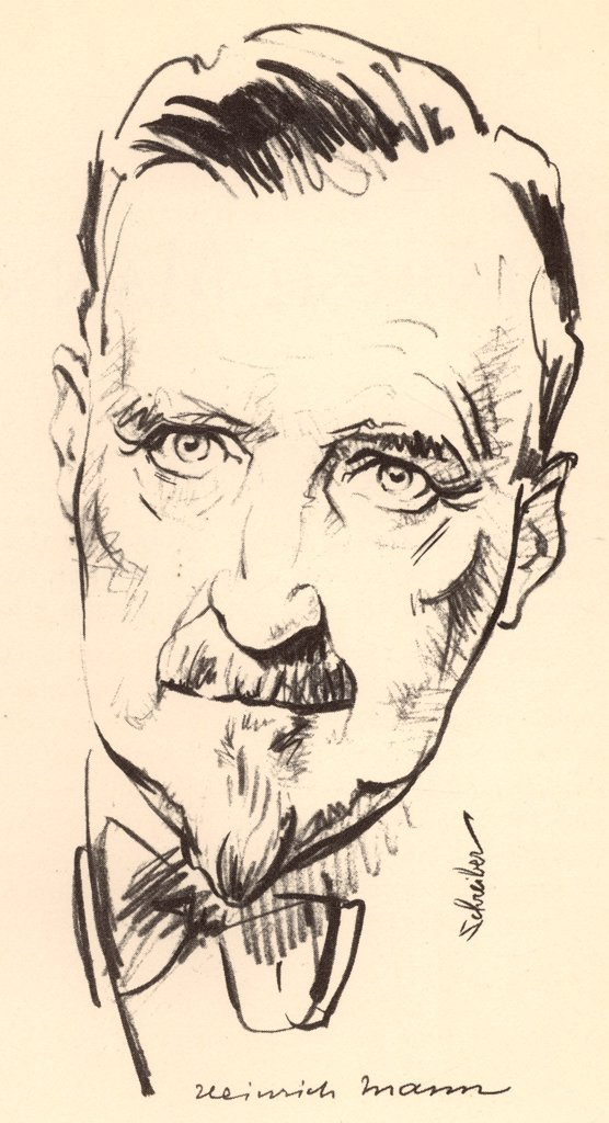 Heinrich Mann (1871-1950) German novelist. Elder brother of the novelist Thomas Mann.  From a sketch dated 1934. : Stock Photo