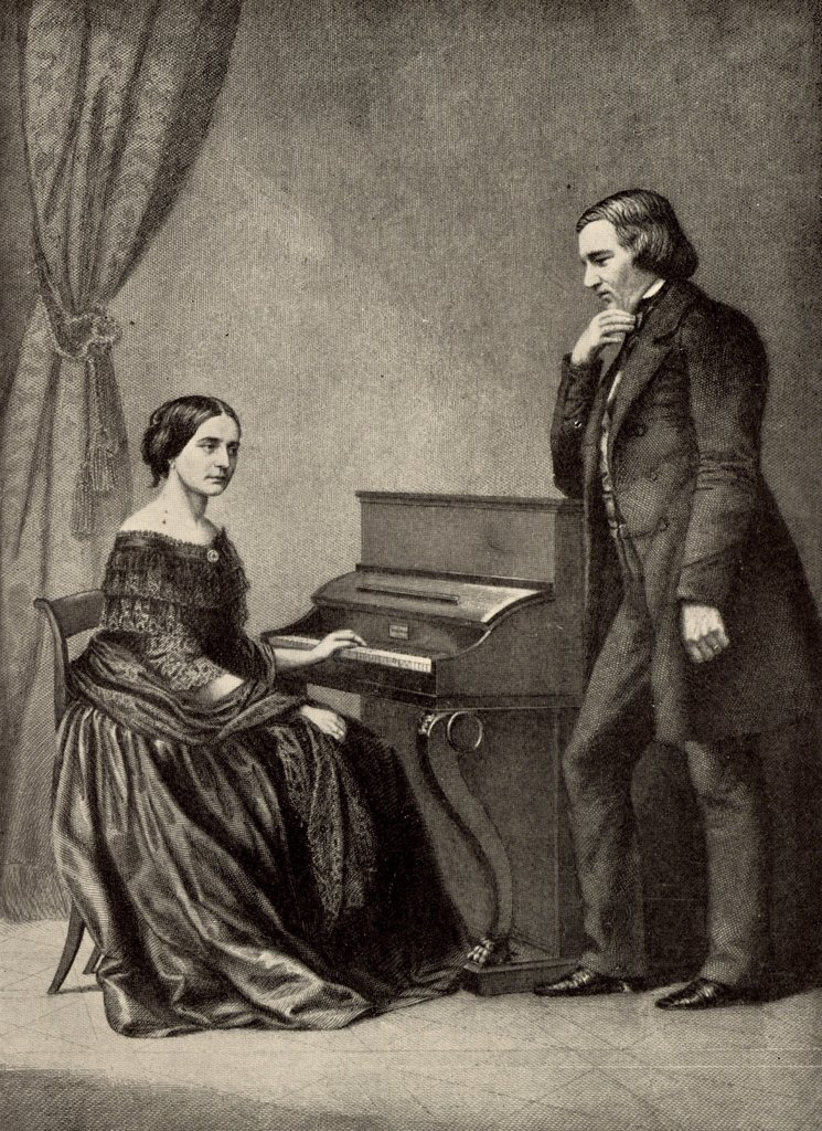 Stock Photo: 1746-4821 Robert Schumann (1810-1856) German Romantic composer with his wife Clara (born Wieck). From a photograph. Halftone.